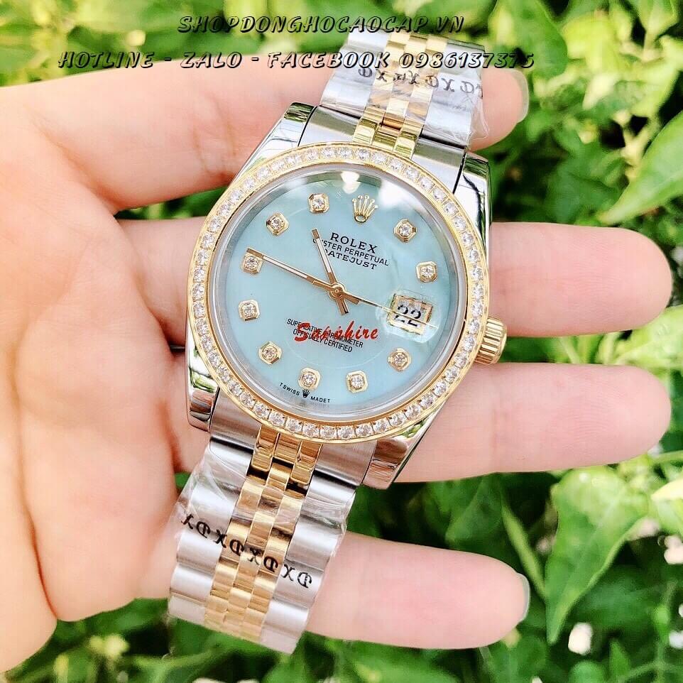 Đồng Hồ Rolex Nam Nữ Pin Demi Mặt Xanh Ngọc 36mm