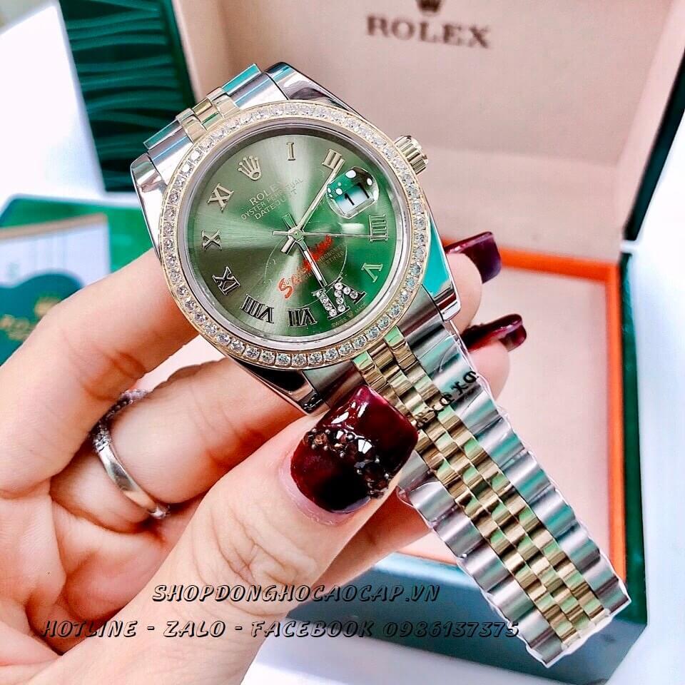 Đồng Hồ Rolex Nam Pin Demi Mặt Xanh 38mm