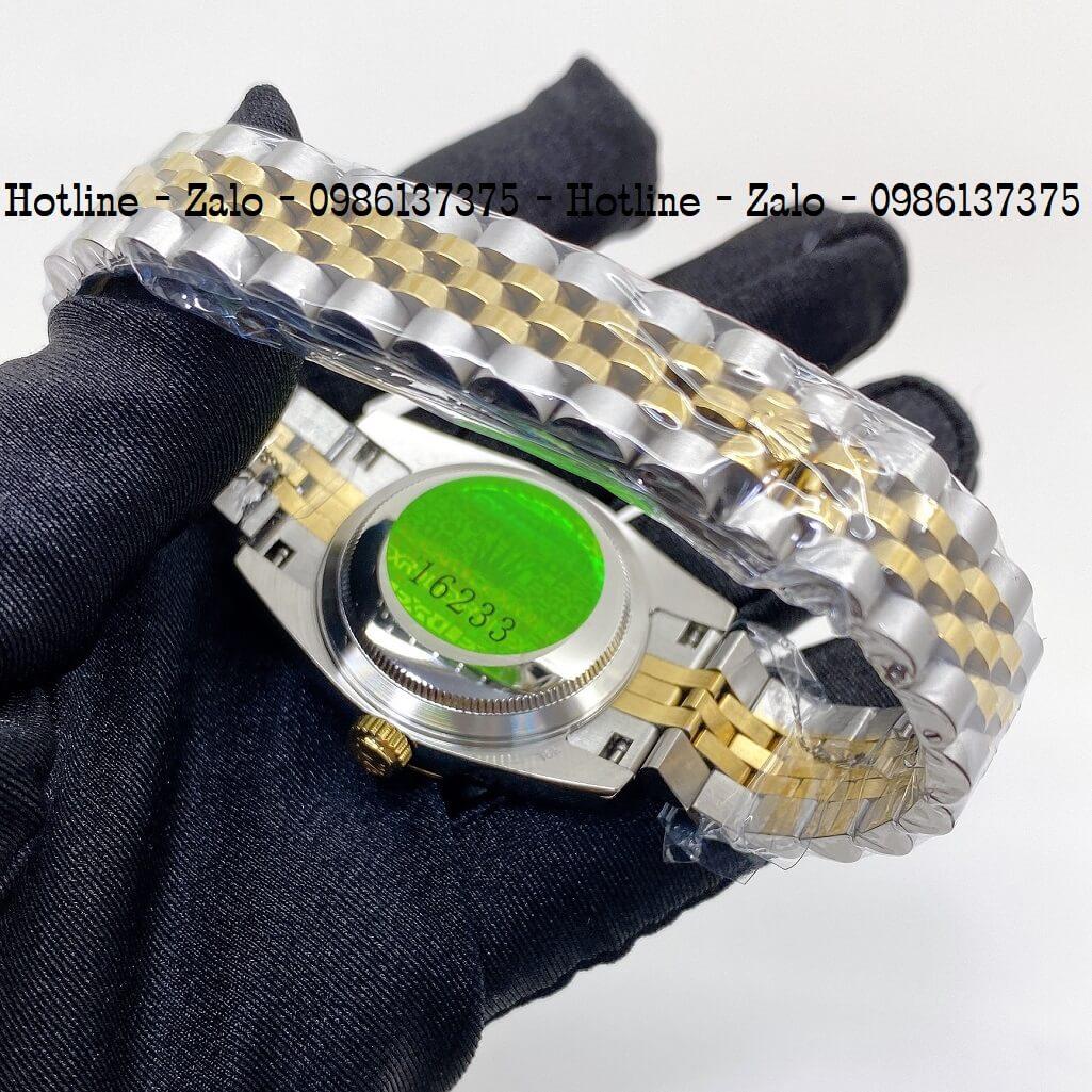 Đồng Hồ Rolex Nữ Demi Vàng Mặt Xanh Lá Máy Pin 32mm