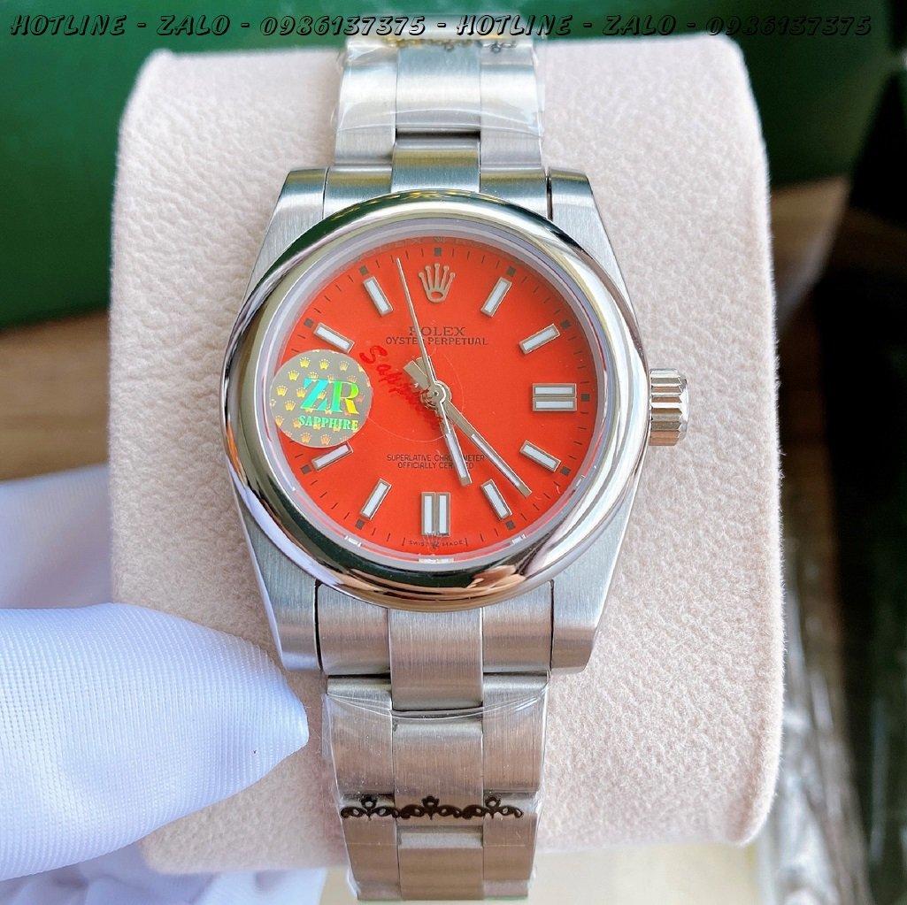 Đồng Hồ Rolex Nữ Automatic Dây Bạc Mặt Đỏ 32mm