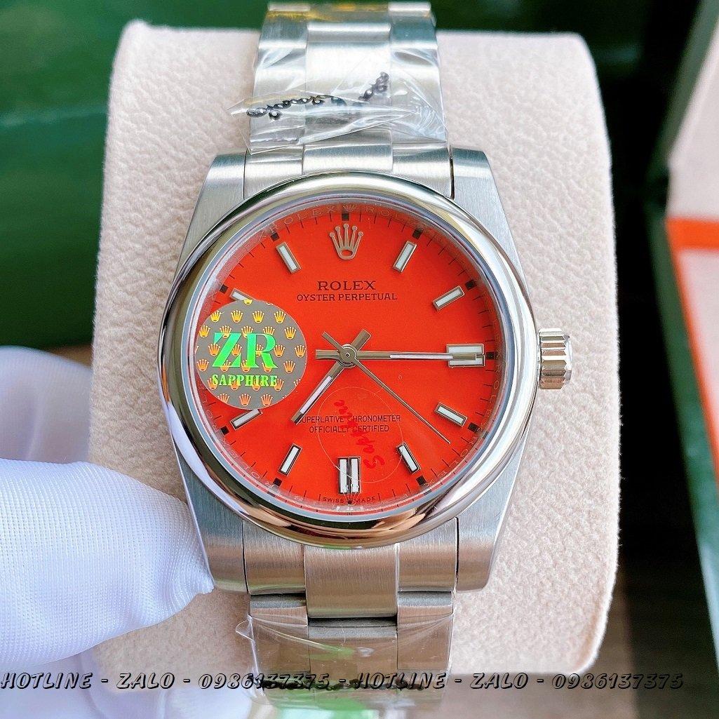 Đồng Hồ Rolex Nữ Automatic Dây Bạc Mặt Đỏ 36mm