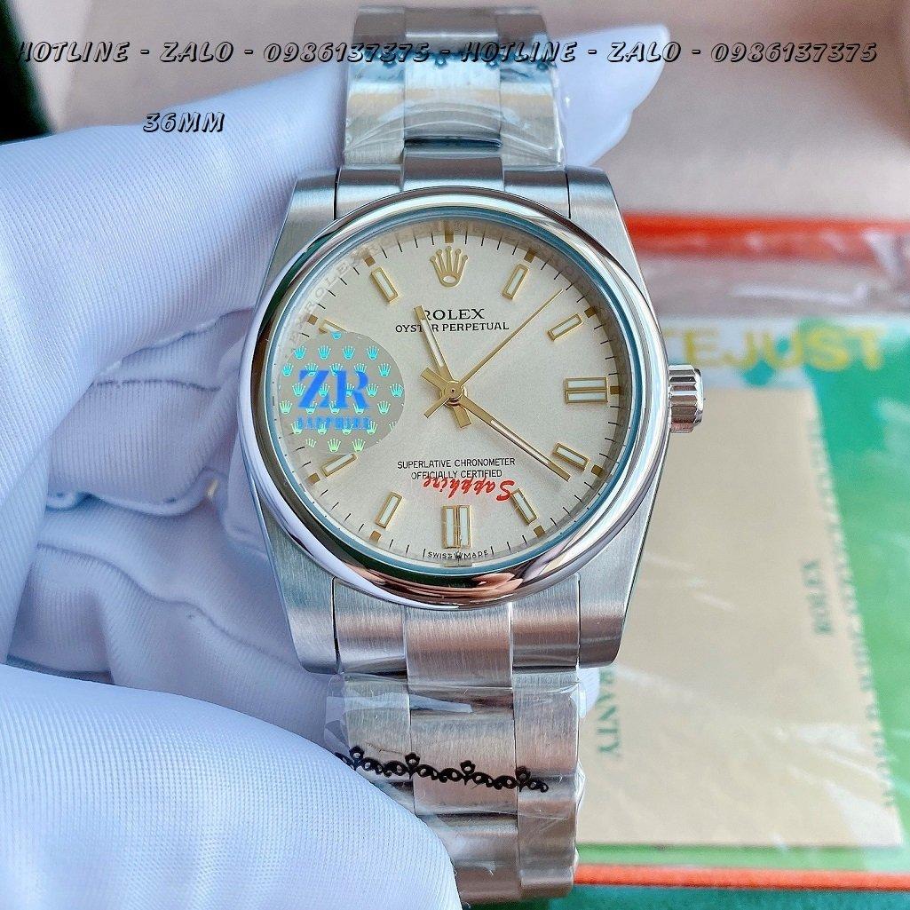Đồng Hồ Rolex Nữ Automatic Dây Bạc Mặt Ngà 36mm