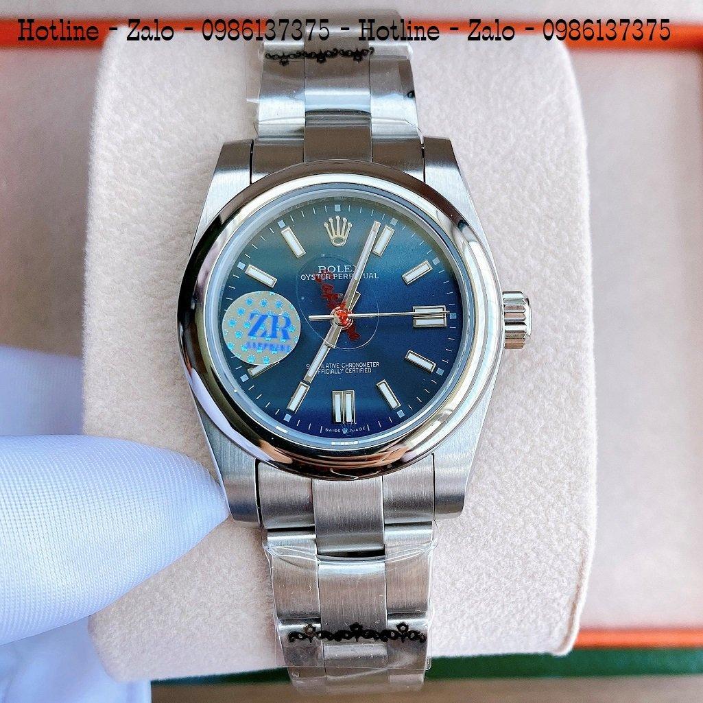 Đồng Hồ Rolex Nữ Automatic Dây Bạc Mặt Xanh Dương 32mm