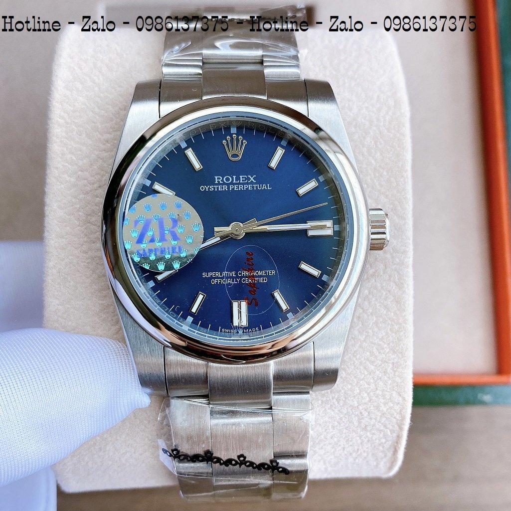 Đồng Hồ Rolex Nữ Automatic Dây Bạc Mặt Xanh Dương 36mm