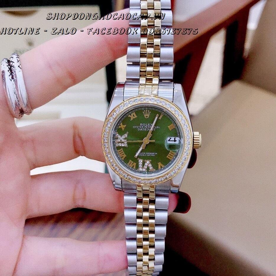 Đồng Hồ Rolex Automatic Nữ Demi Vàng Mặt Xanh Lục Bảo 32mm