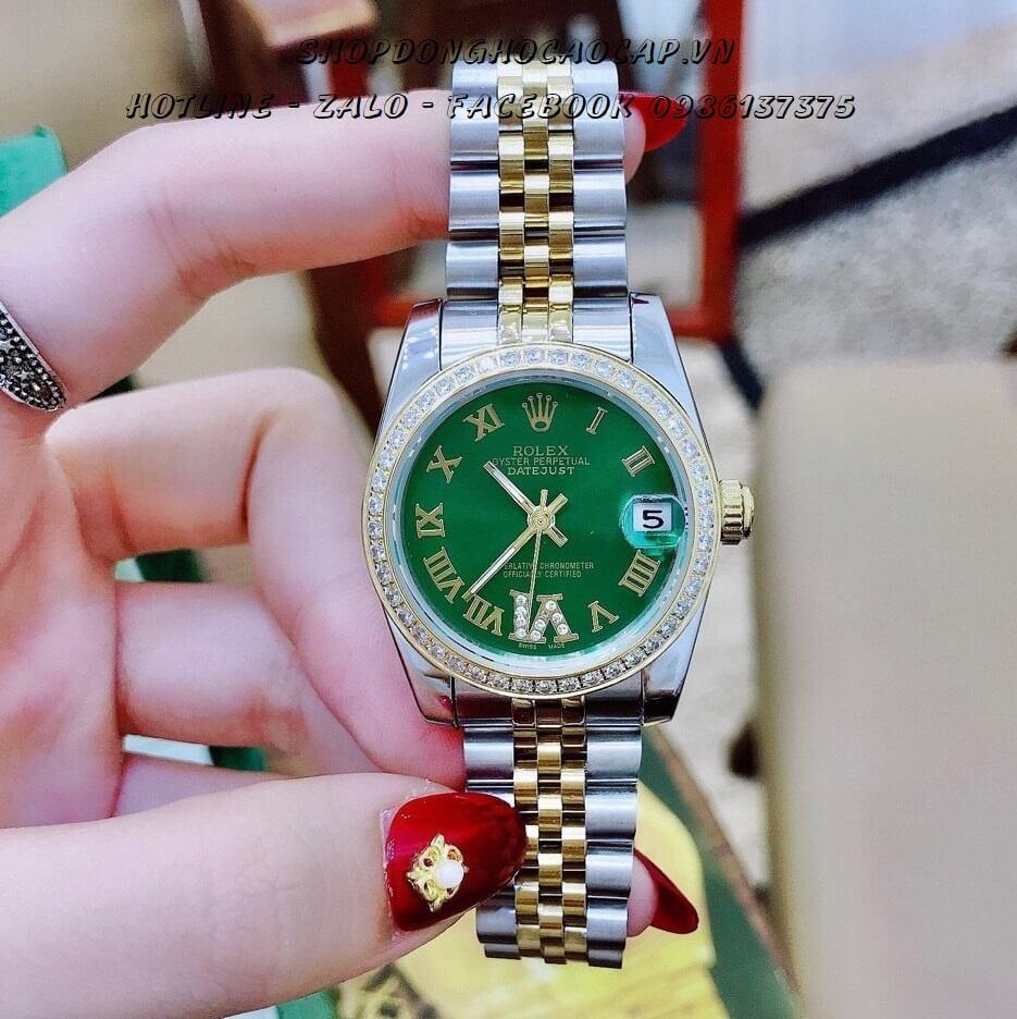 Đồng Hồ Rolex Nữ Demi Vàng Mặt Xanh 32mm Automatic