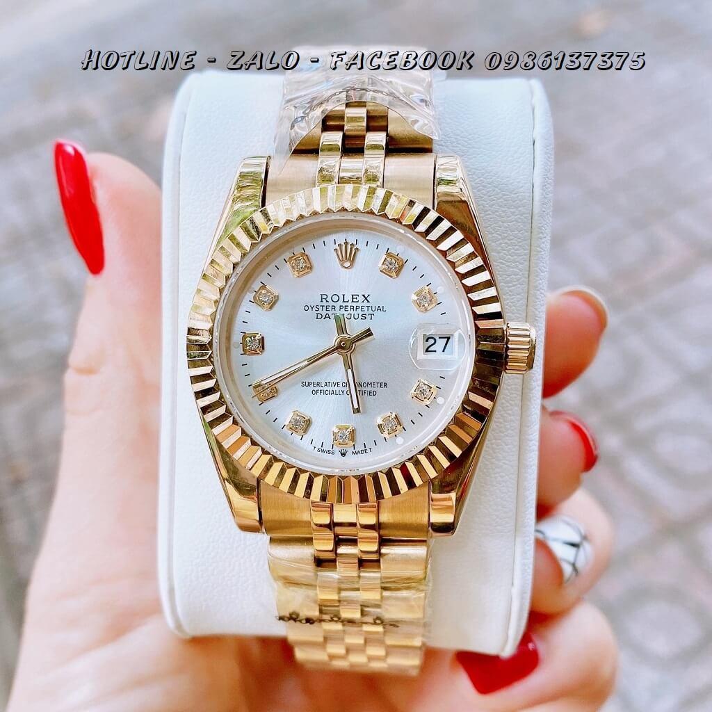 Đồng Hồ Nữ Rolex Quartz Vàng Mặt Trắng 32mm