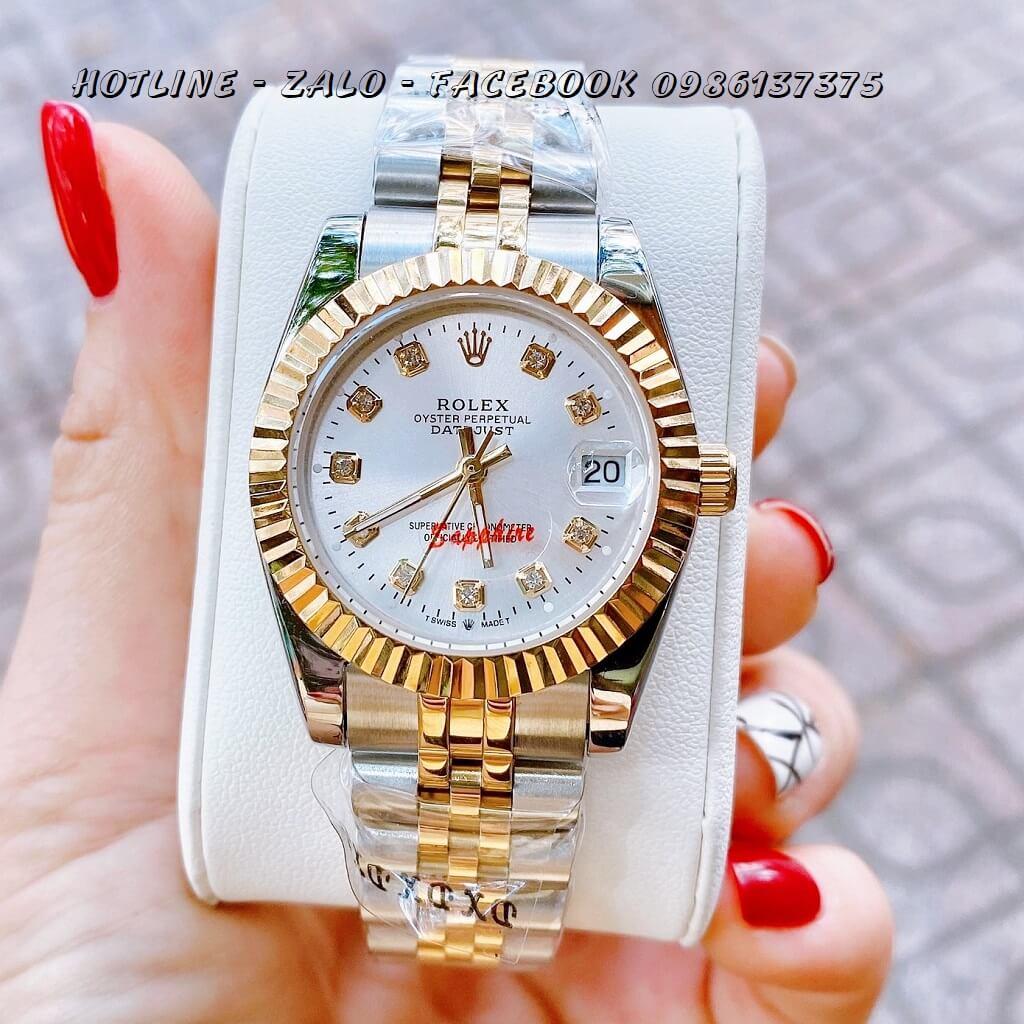 Đồng Hồ Nữ Rolex Quartz Demi Vàng Mặt Trắng 32mm