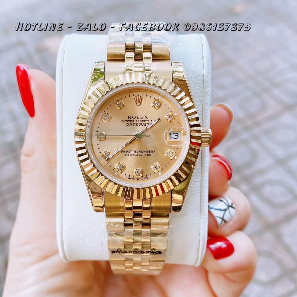 Đồng Hồ Nữ Rolex Quartz Vàng Mặt Vàng 32mm