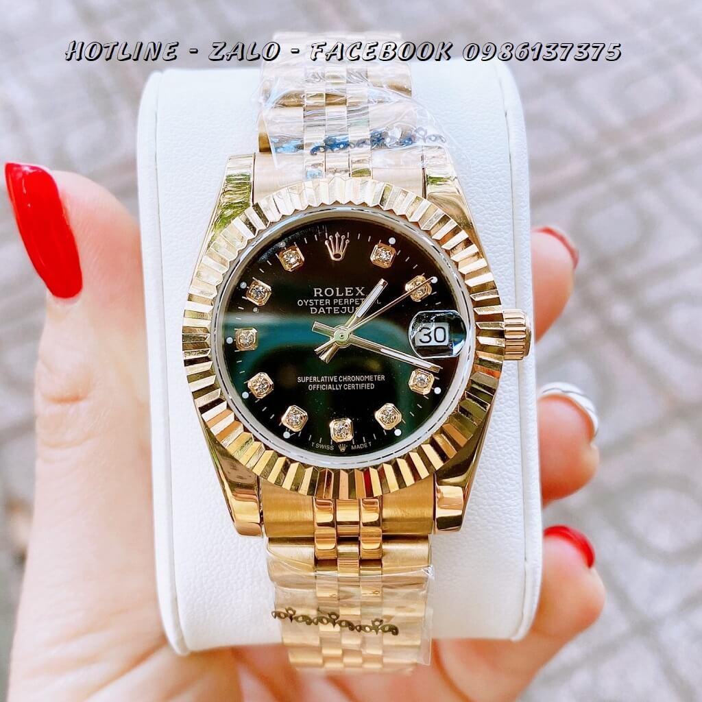 Đồng Hồ Nữ Rolex Quartz Vàng Mặt Đen 32mm