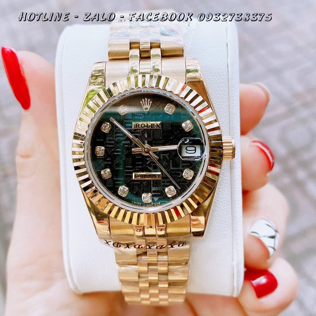 Đồng Hồ Nữ Rolex Quartz Vàng Mặt Đen Vân 32mm