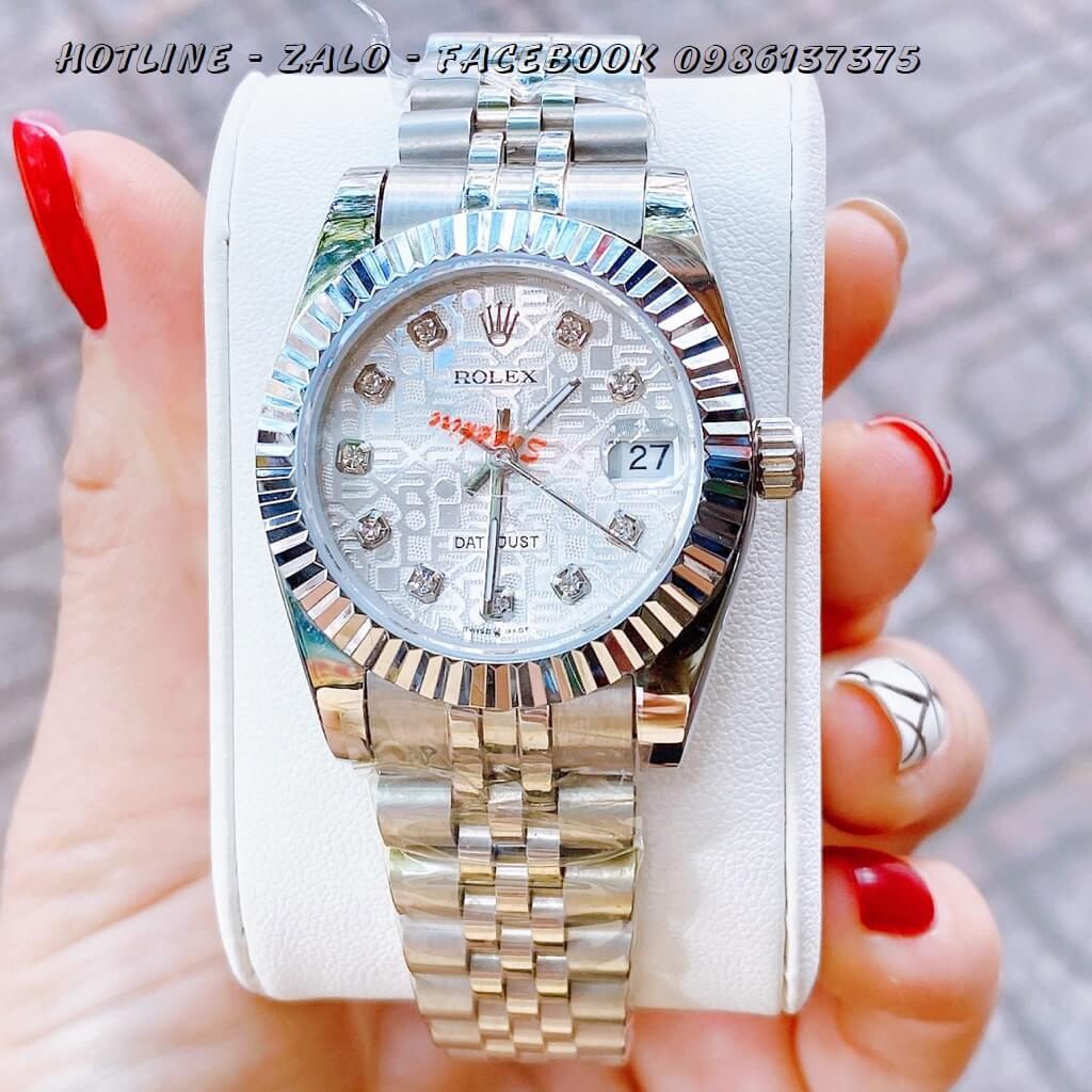 Đồng Hồ Nữ Rolex Quartz Bạc Mặt Vân 32mm