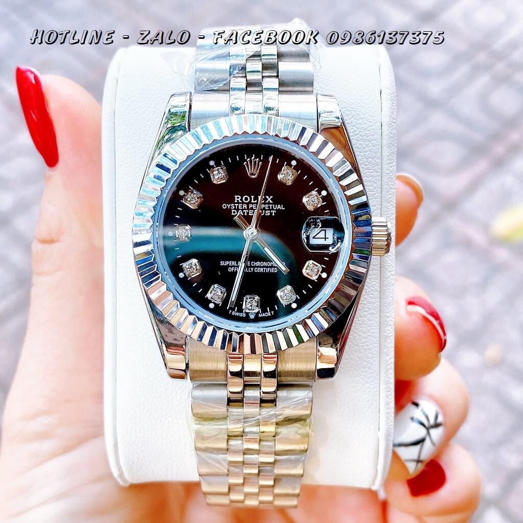 Đồng Hồ Nữ Rolex Quartz Bạc Mặt Đen 32mm