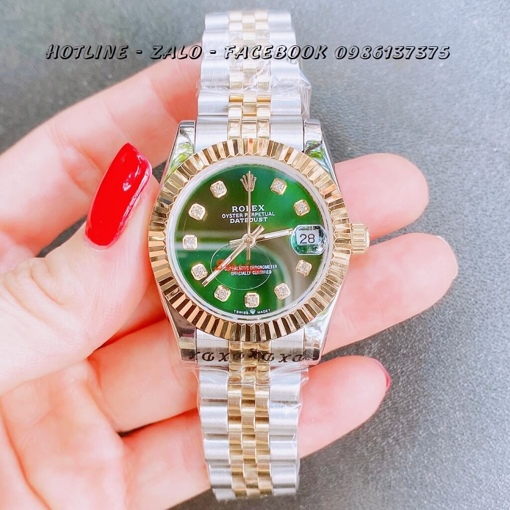 Đồng Hồ Nữ Rolex Quartz Demi Vàng Mặt Xanh 32mm