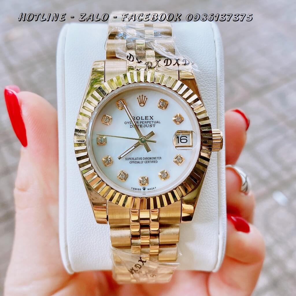 Đồng Hồ Nữ Rolex Quartz Vàng Mặt Trắng Trơn 32mm