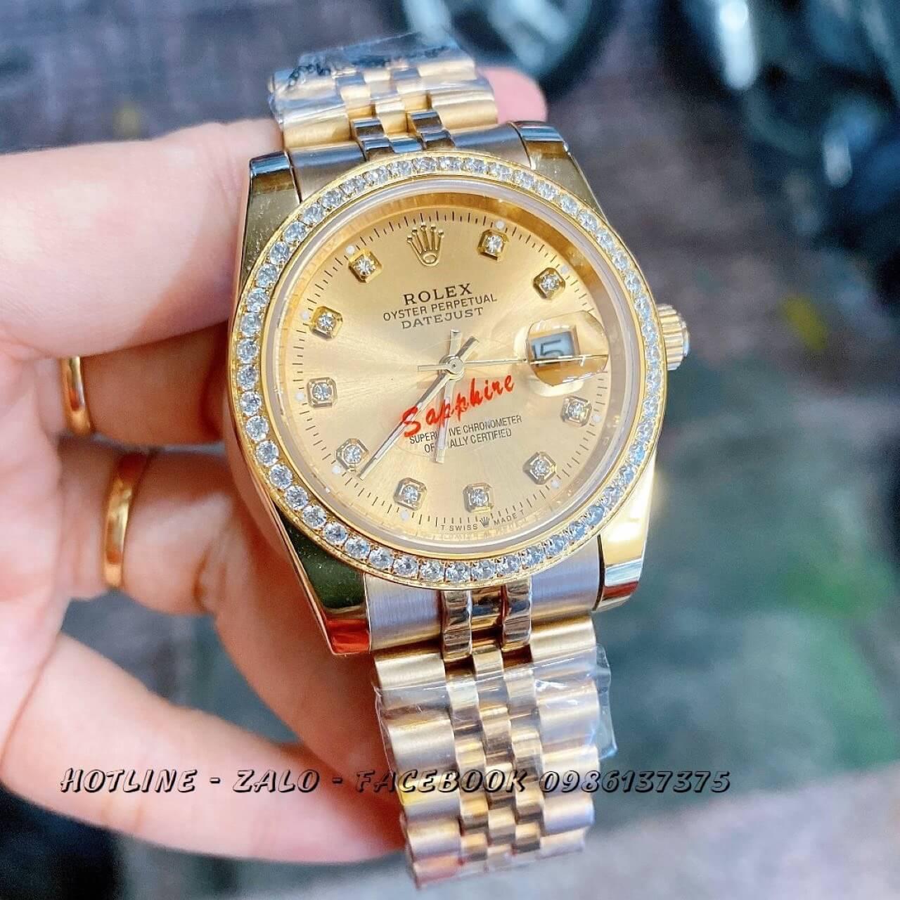 Đồng Hồ Rolex Quartz Nam Đính Đá Vàng 38mm