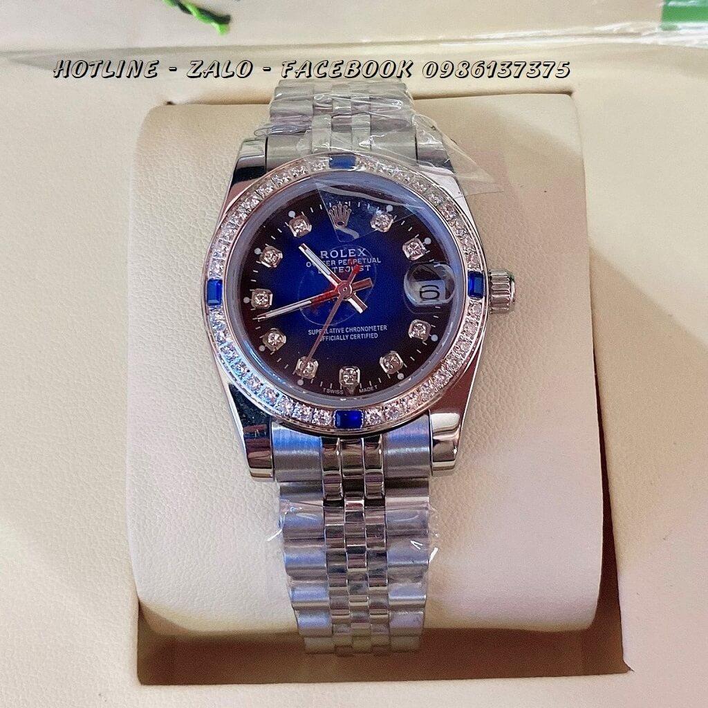 Đồng Hồ Rolex Quartz Nữ Đính Đá Bạc Mặt Xanh Blue 32mm