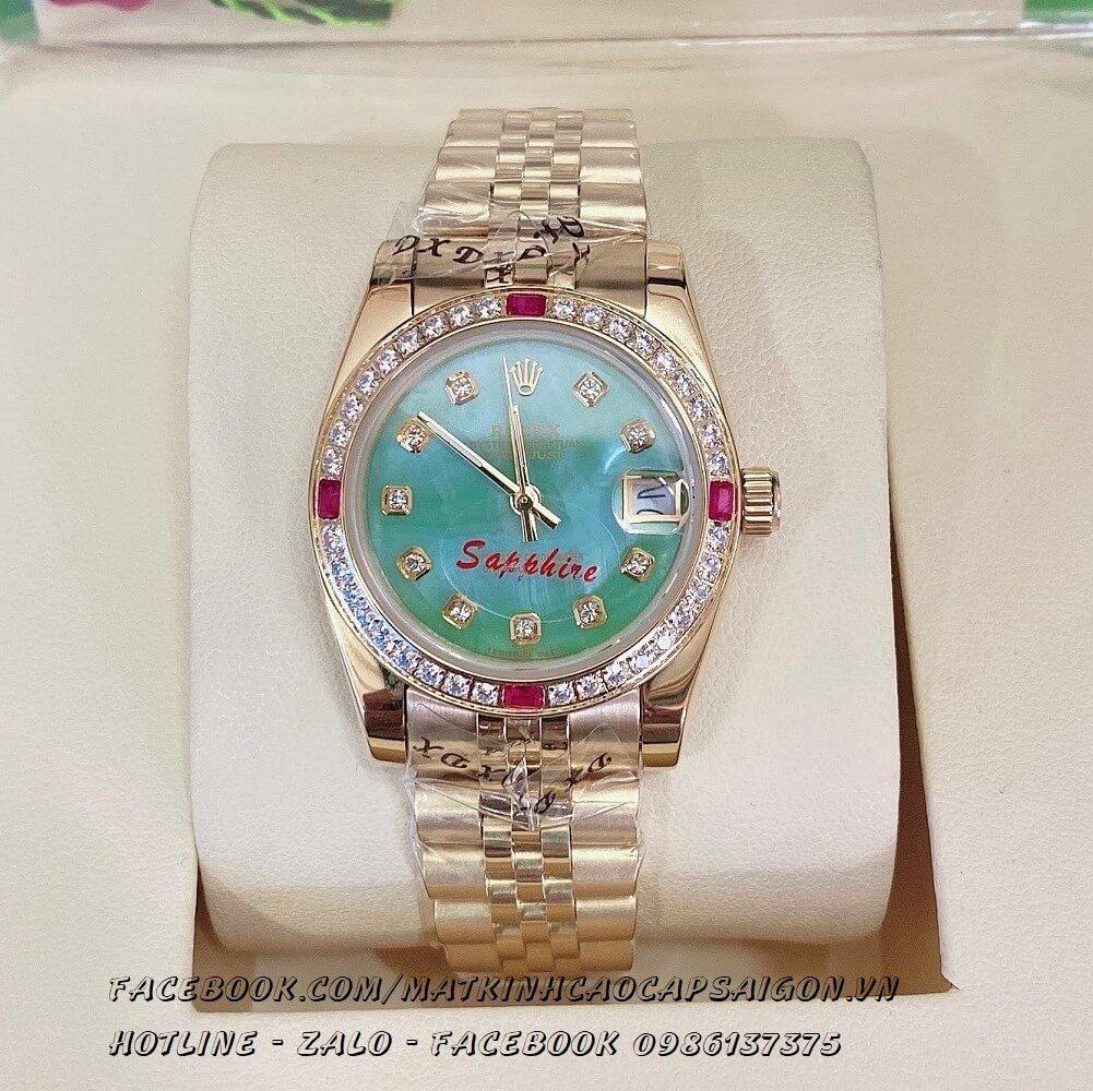 Đồng Hồ Rolex Quartz Nữ Đính Đá Vàng Mặt Xanh Ngọc 32mm