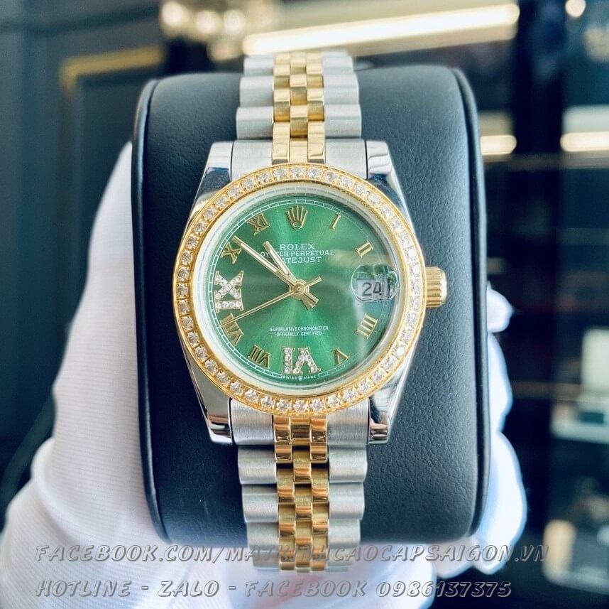 Đồng Hồ Rolex Quartz Nữ Đính Đá Demi Vàng Mặt Xanh Đất 32mm