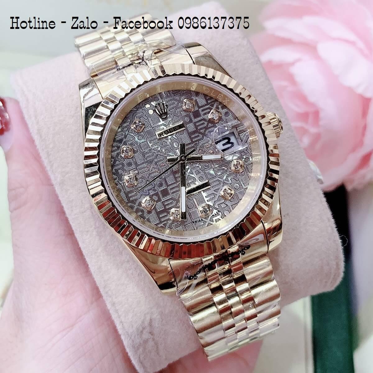 Đồng Hồ Nam Nữ Rolex Quartz Vàng Mặt Xám 36mm- 32mm