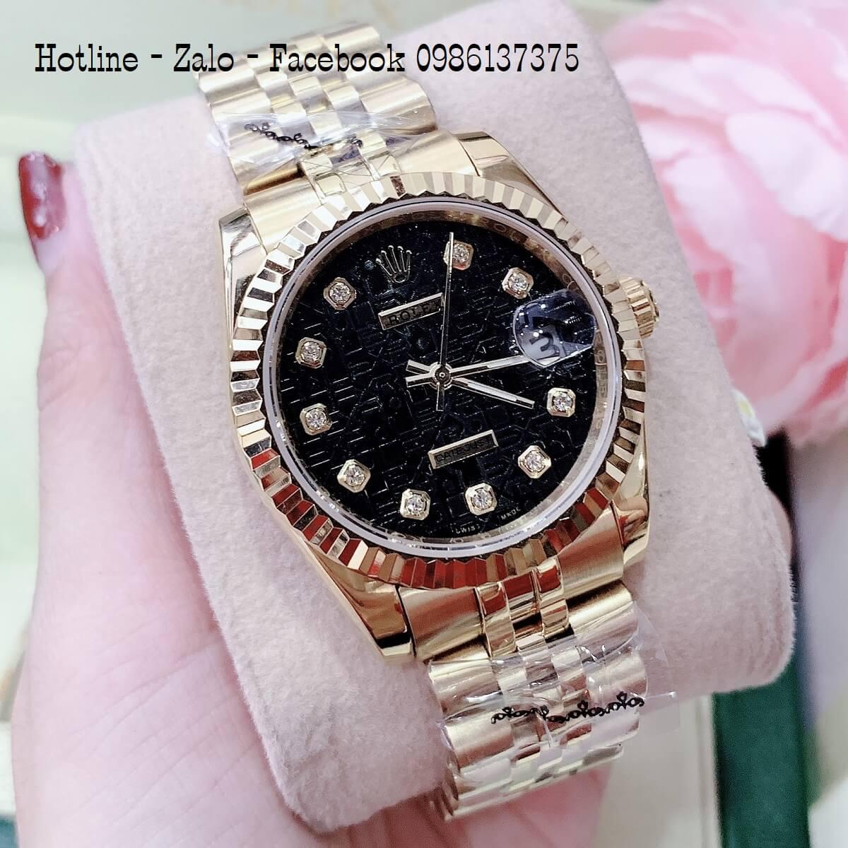 Đồng Hồ Nam Nữ Rolex Quartz Vàng Mặt Đen 40mm- 36mm- 32mm- 28mm