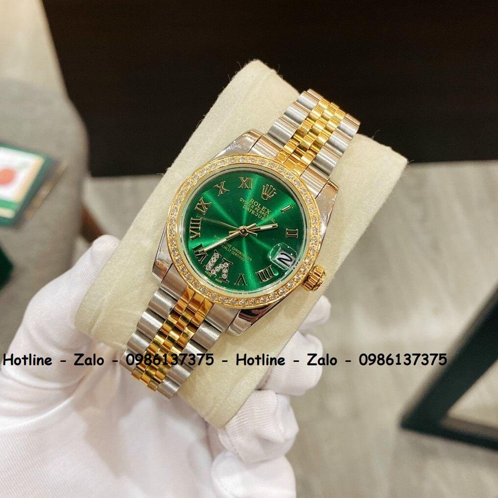 Đồng Hồ Rolex Quartz Nữ Demi Vàng Mặt Xanh Đính Đá 32mm