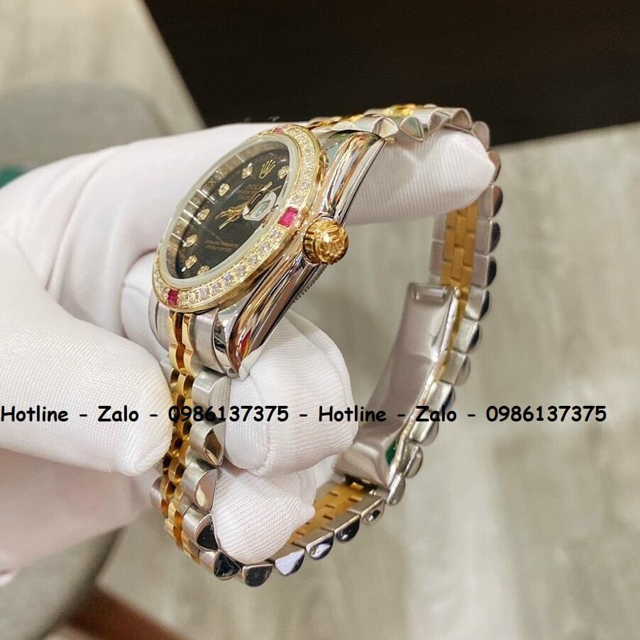 Đồng Hồ Rolex Quartz Siêu Cấp Nữ Demi Vàng Đính Đá 32mm