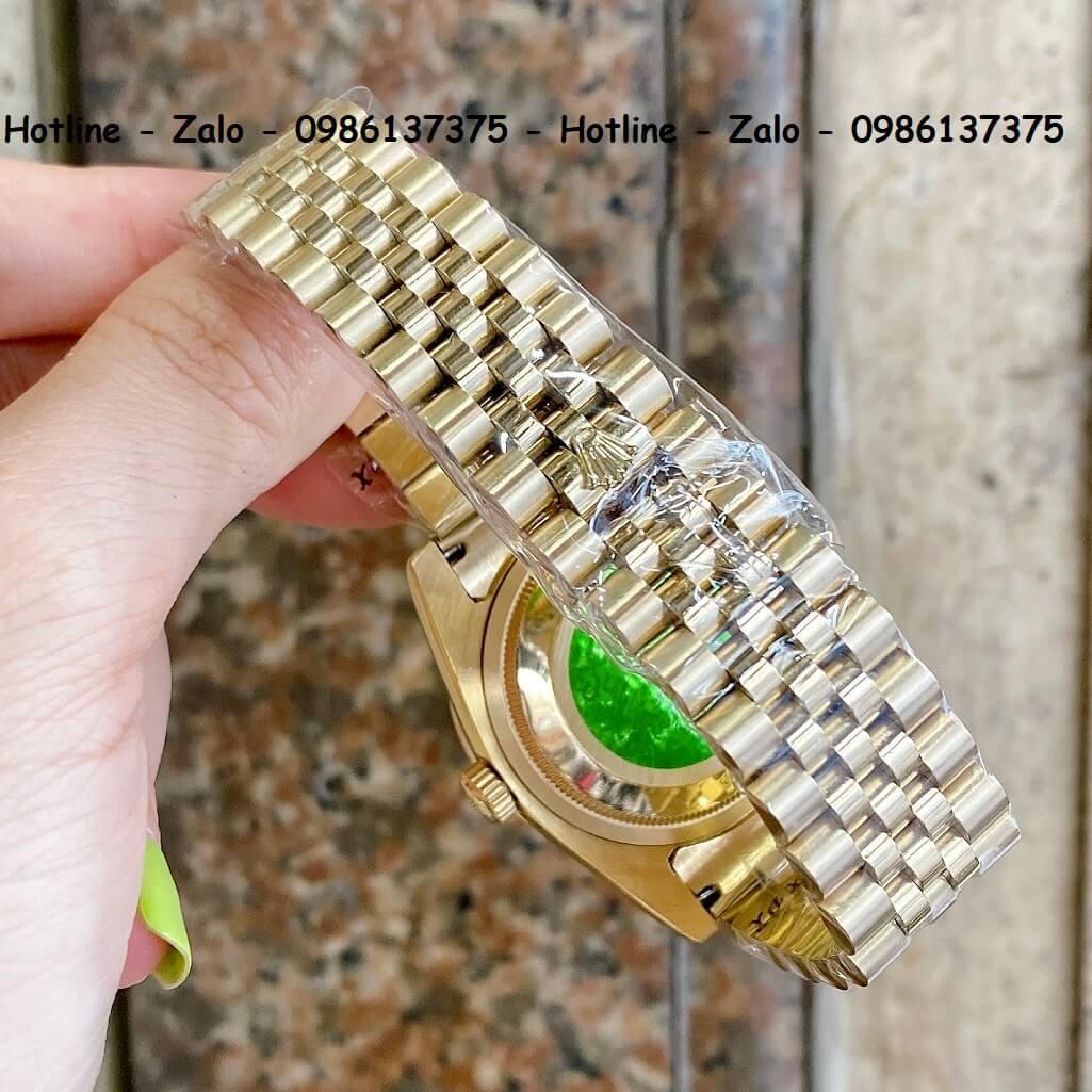 Đồng Hồ Cặp Rolex Quartz Siêu Cấp Vàng Mặt Xà Cừ Đính Đá