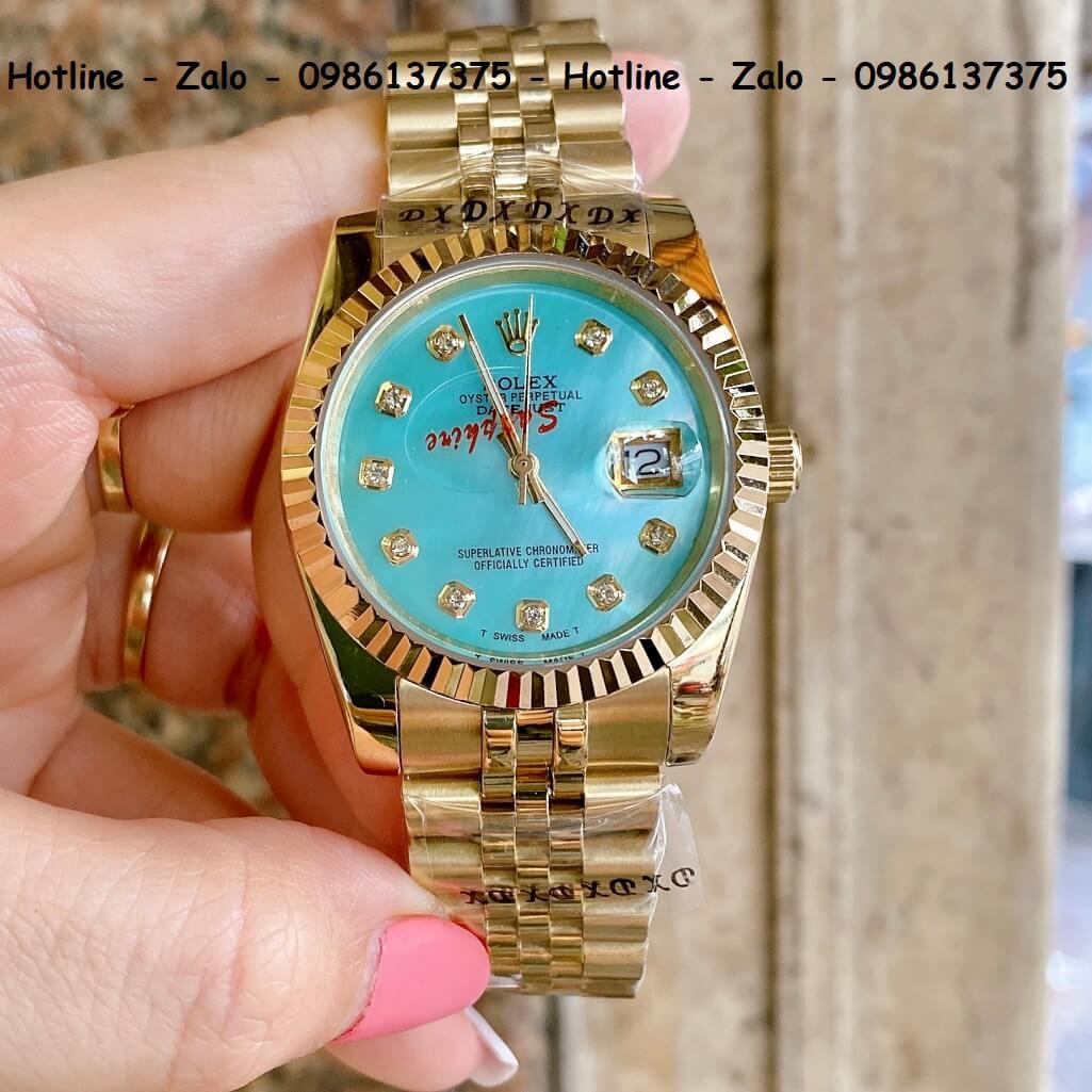 Đồng Hồ Rolex Quartz Siêu Cấp Vàng Mặt Xà Cừ Xanh Đính Đá 36mm - 32mm
