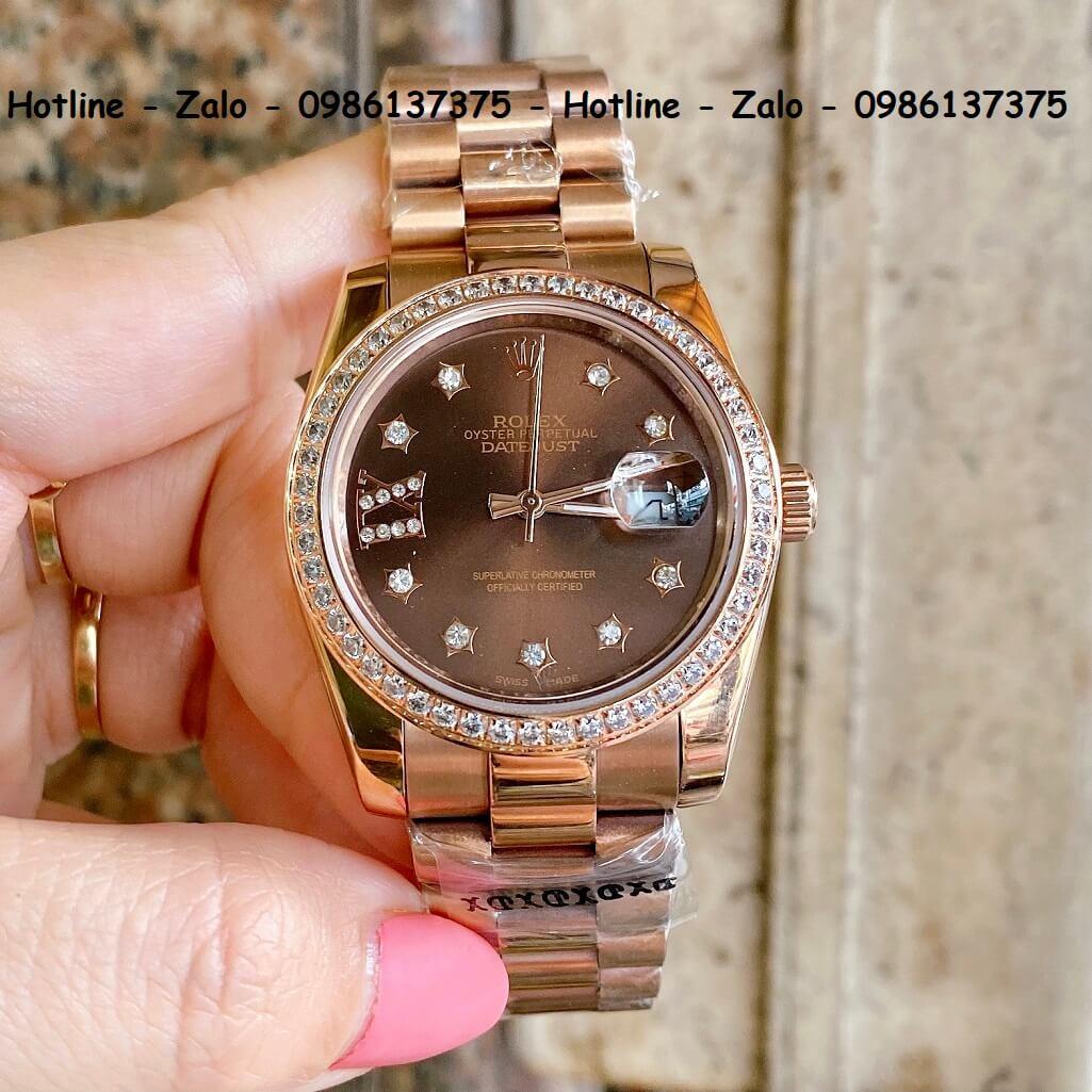 Đồng Hồ Rolex Quartz Siêu Cấp Vàng Hồng Mặt Nâu Đính Đá 36mm - 32mm