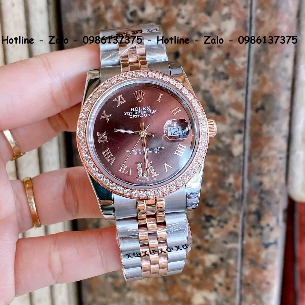 Đồng Hồ Rolex Quartz Siêu Cấp Demi Mặt Nâu Đính Đá 36mm - 32mm