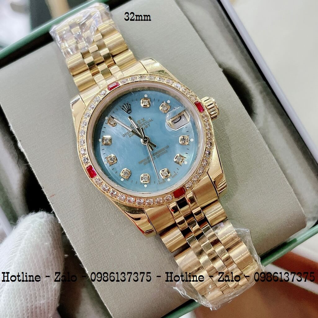 Đồng Hồ Rolex Nữ Demi Vàng Mặt Xanh Ngọc Máy Pin 32mm