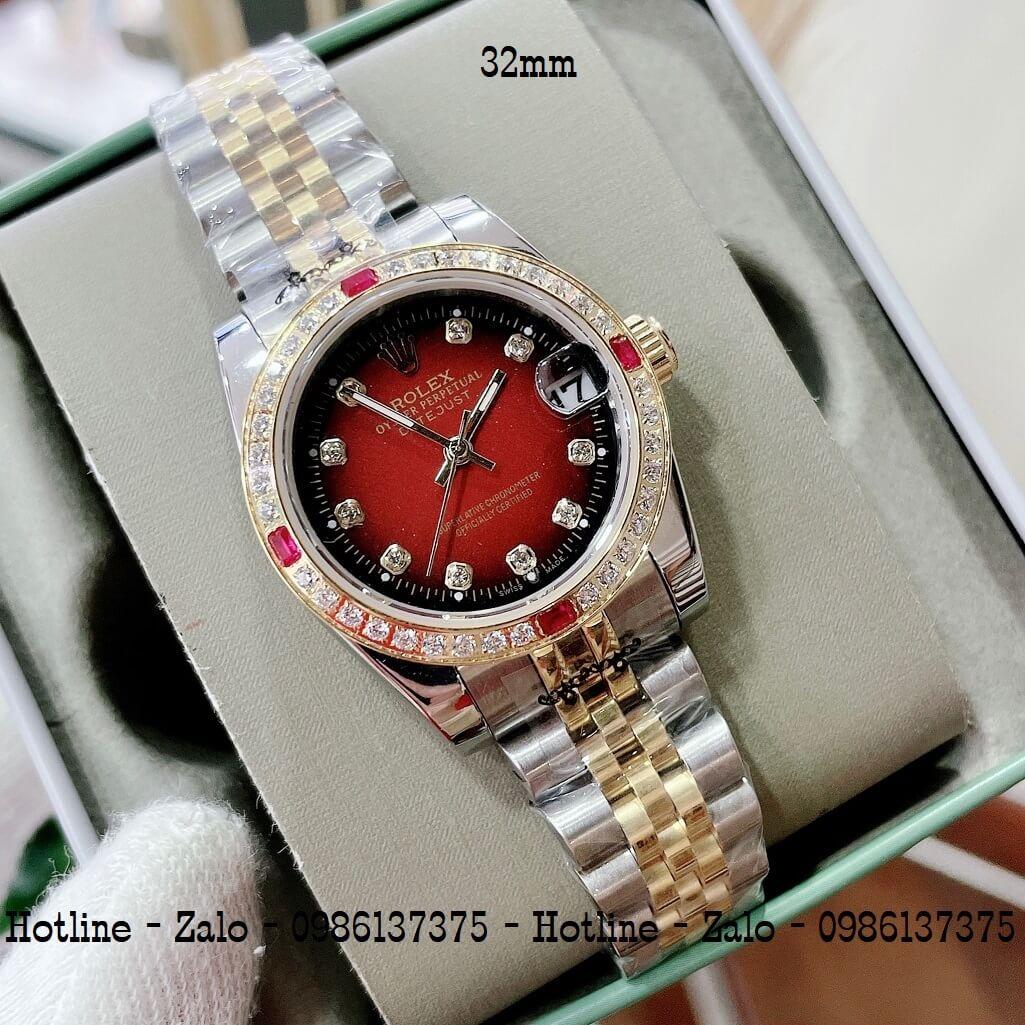 Đồng Hồ Rolex Nữ Demi Vàng Mặt Đỏ Máy Pin 32mm