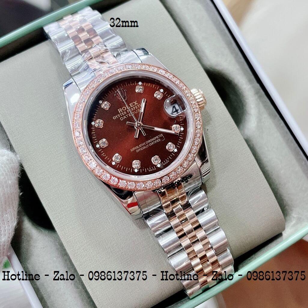 Đồng Hồ Rolex Nữ Demi Hồng Mặt Nâu Máy Pin 32mm