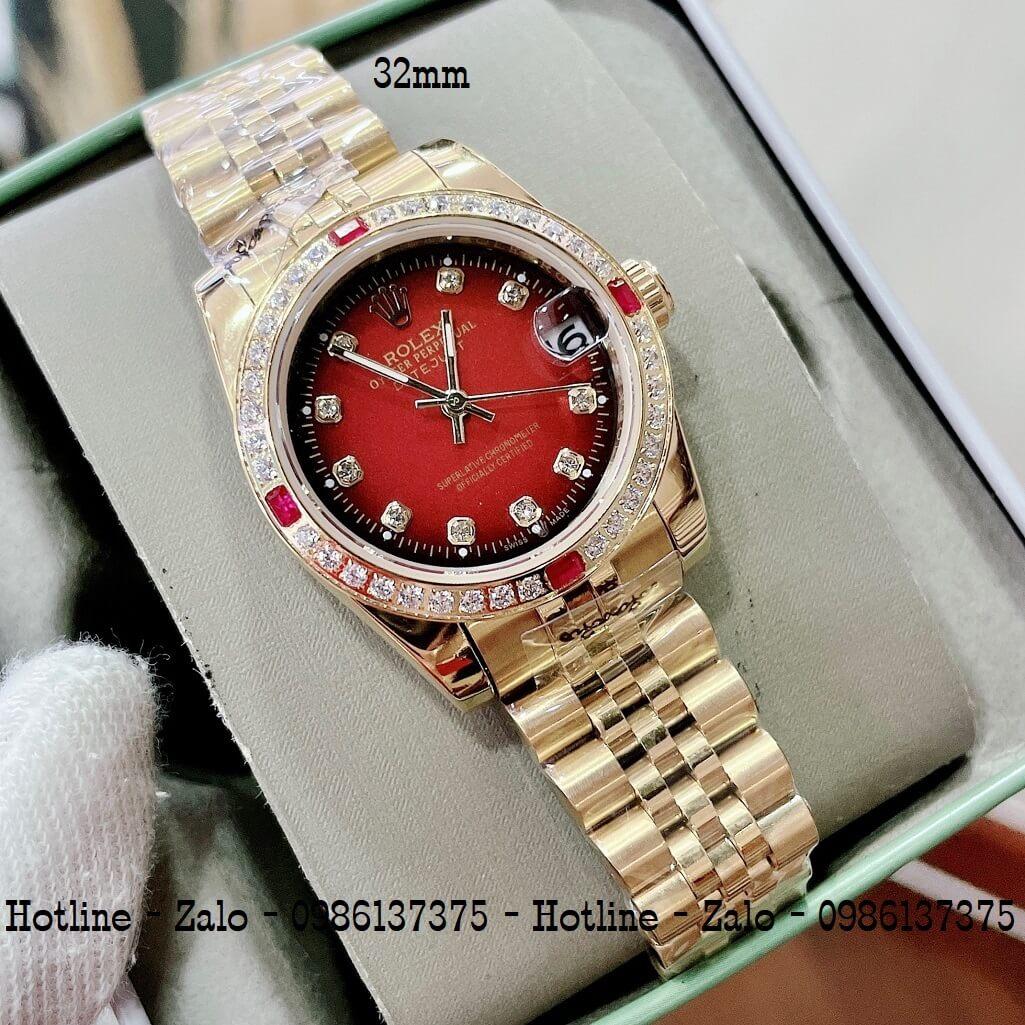 Đồng Hồ Rolex Nữ Vàng Mặt Đỏ Máy Pin 32mm