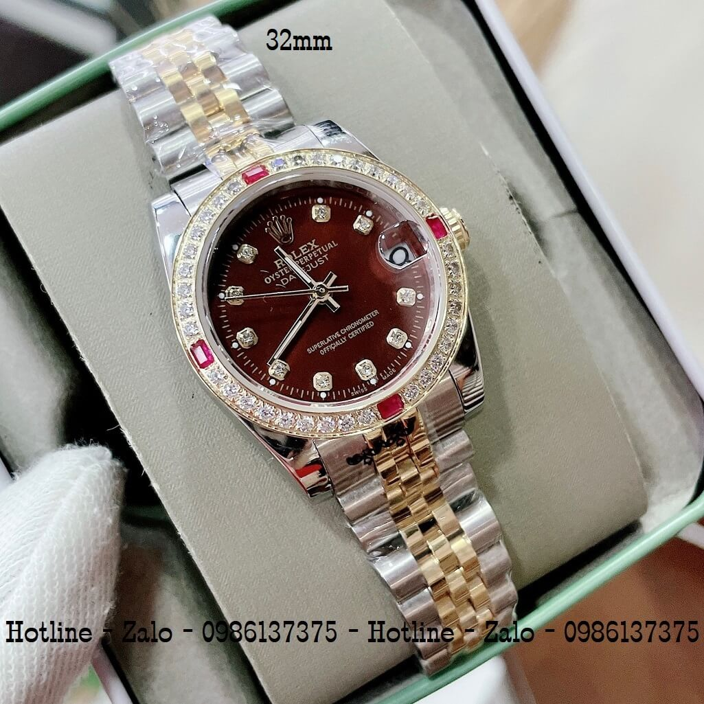 Đồng Hồ Rolex Nữ Demi Vàng Mặt Nâu Máy Pin 32mm