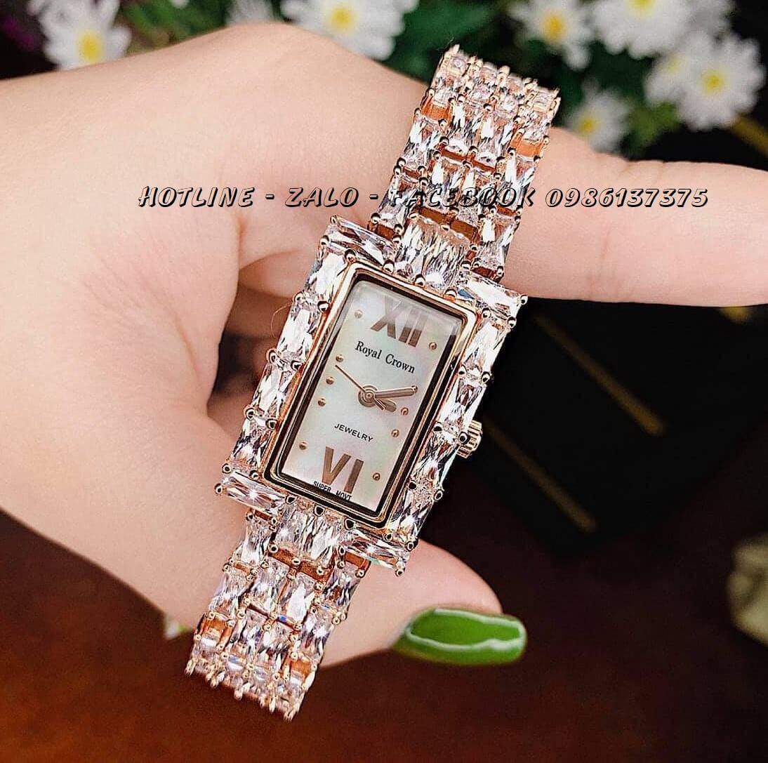 Đồng Hồ Nữ Royal Crown 3793 Đá Rose Gold 20x34mm