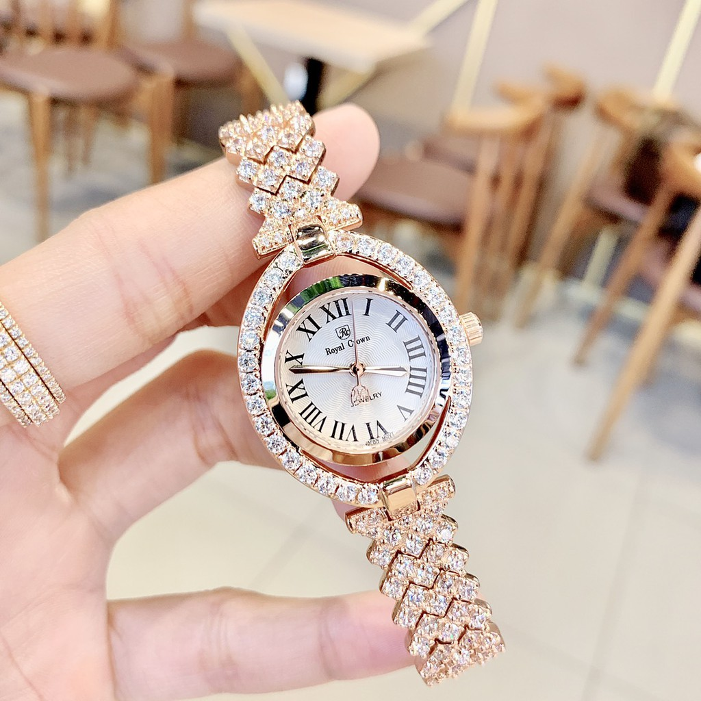Đồng Hồ Nữ Royal Crown 4610 Rose Gold 28x35mm