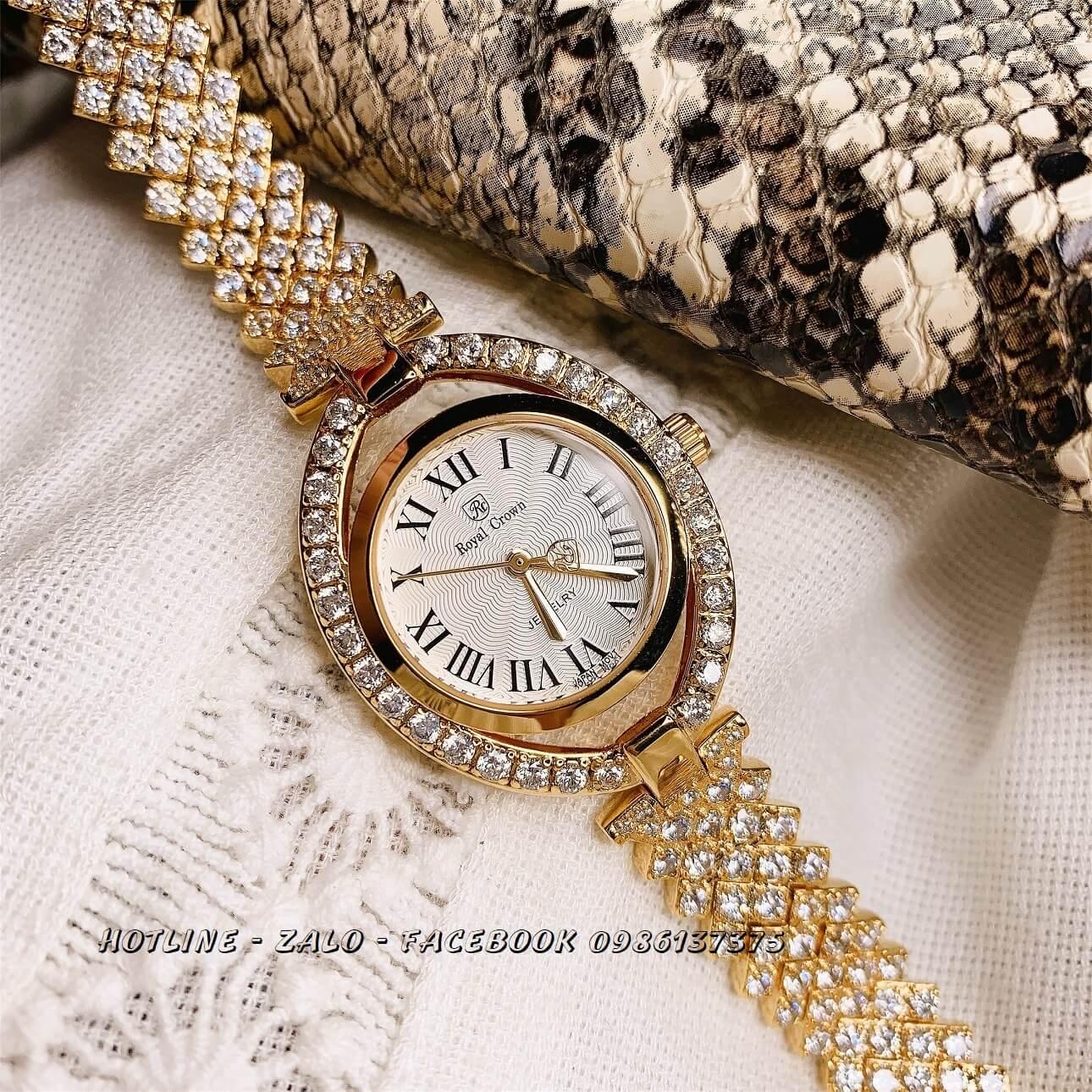 Đồng Hồ Nữ Royal Crown 4610 Gold 28x35mm