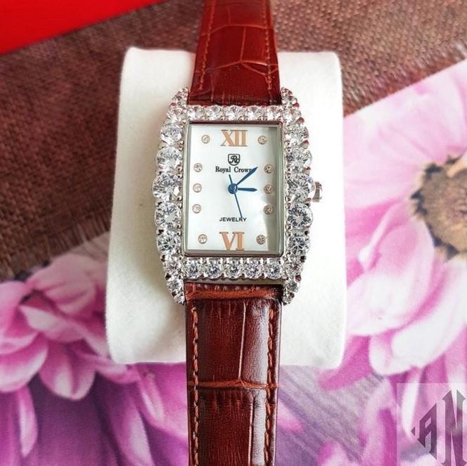 Đồng Hồ Royal Crown 6111 Nữ Dây Da Nâu Chính Hãng