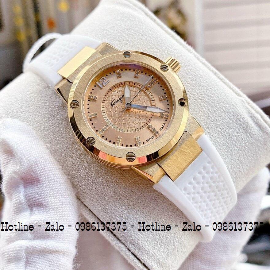 Đồng Hồ Nữ Salvatore Ferragamo Silicon Trắng Gold 33mm