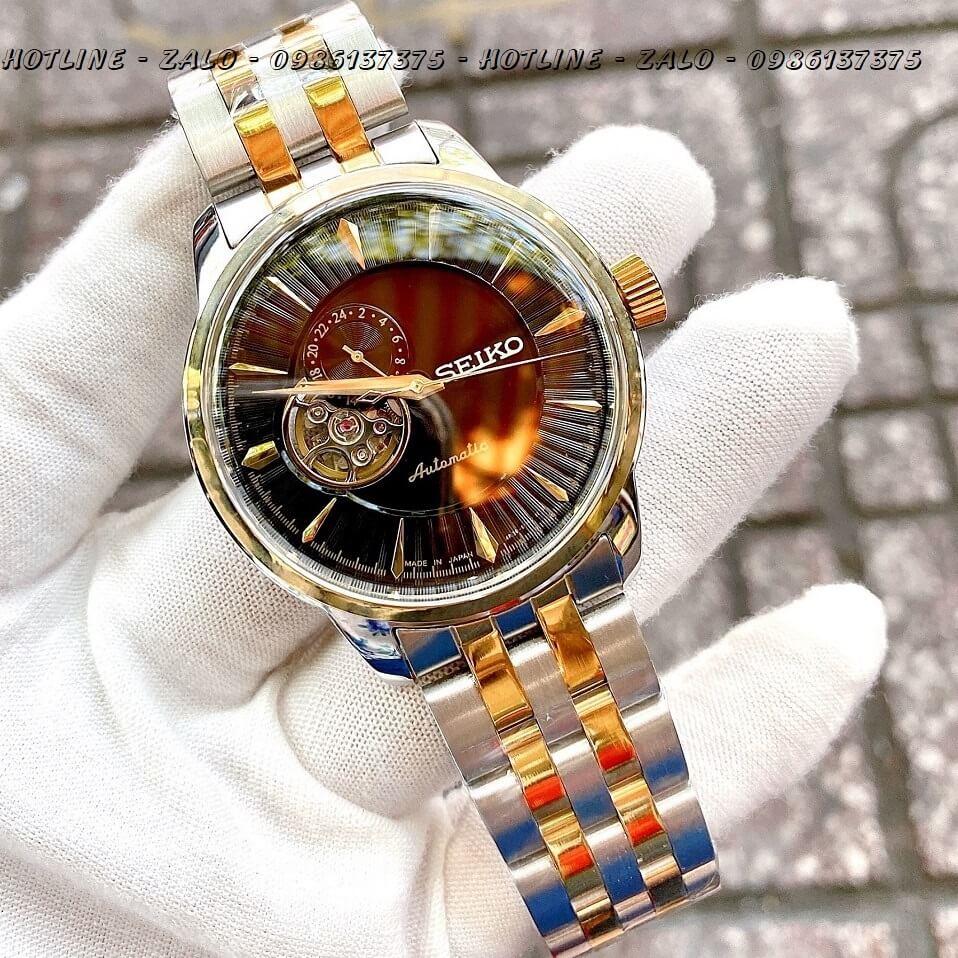 Đồng Hồ Seiko Automatic Nam Lộ Máy Demi Vàng Mặt Đen 40mm