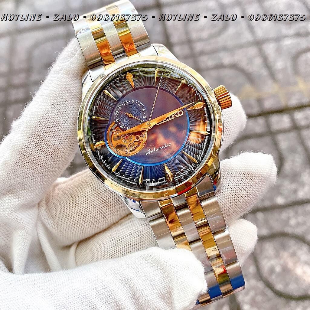 Đồng Hồ Seiko Automatic Nam Lộ Máy Demi Vàng Mặt Xanh Blue 40mm