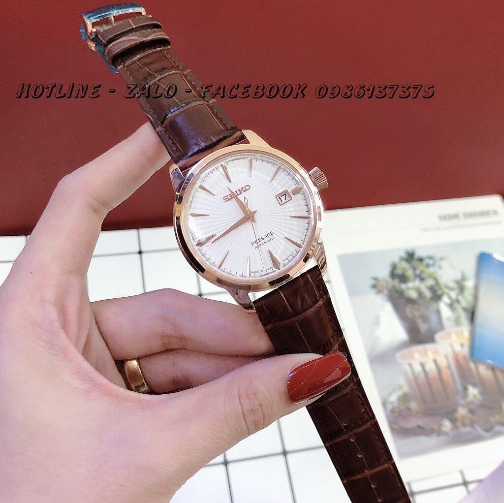 Đồng Hồ Seiko Nam Automatic Dây Da Nâu Mặt Trắng Rose Gold 40mm