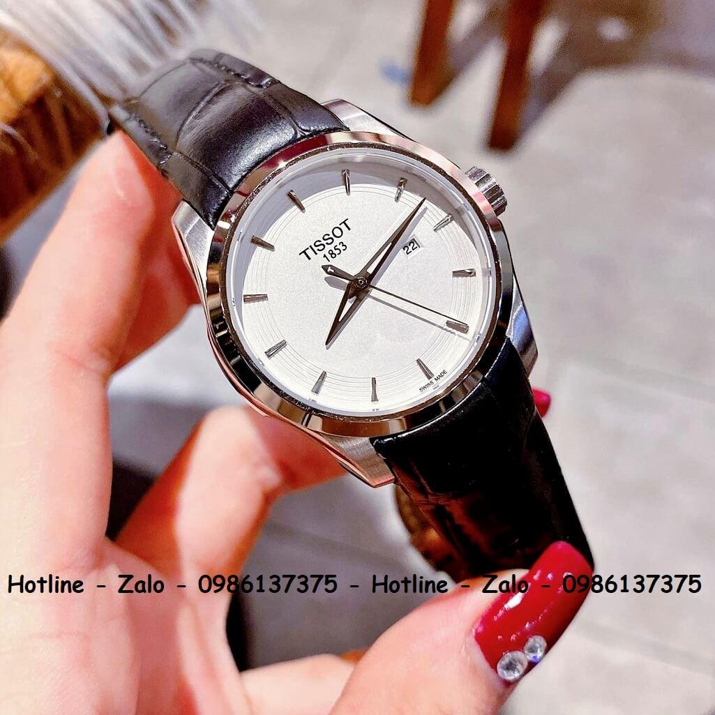 Đồng Hồ Tissot Nữ Dây Da Đen Mặt Trắng 32mm Silver