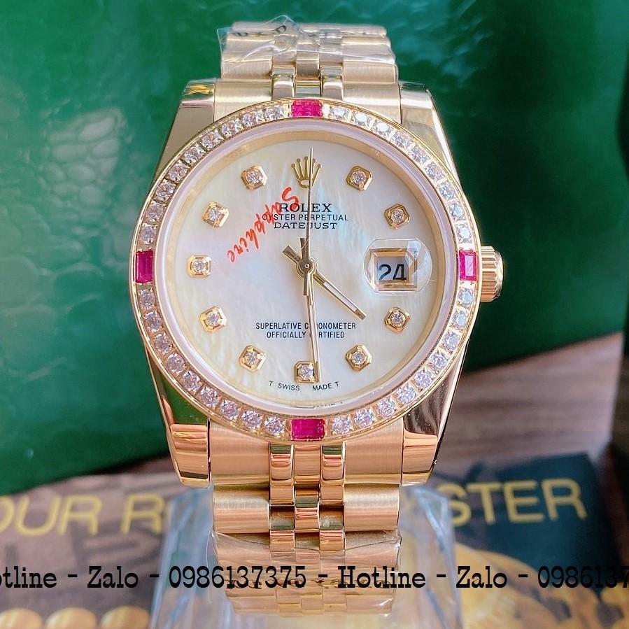 Đồng Hồ Unisex Rolex Viền Đá Dây Vàng Mặt Vàng Ngọc 36mm