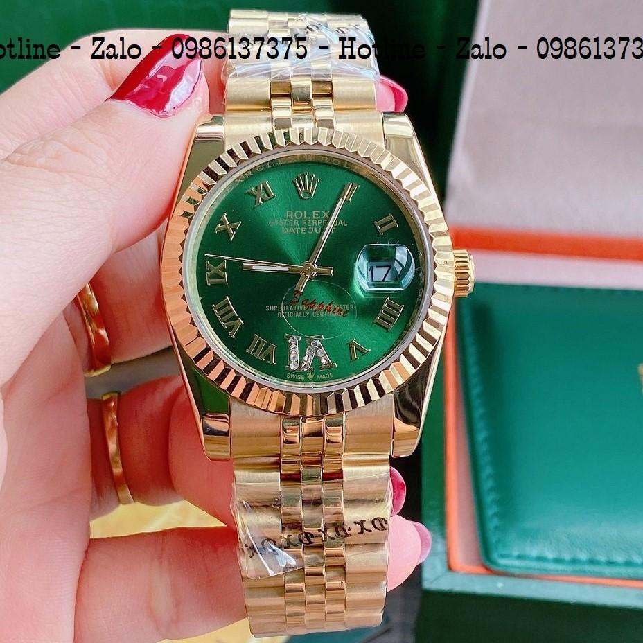 Đồng Hồ Unisex Rolex Viền Khía Dây Vàng Mặt Green 36mm