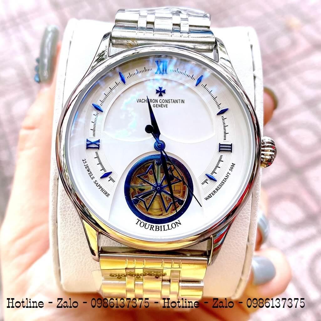 Đồng Hồ Vacheron Constantin Automatic Bạc Mặt Trắng 41mm