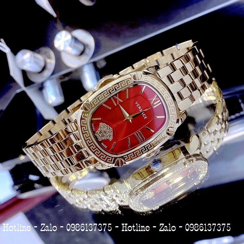 Đồng Hồ Nữ Versace Couture Vàng Mặt Đỏ 30x37mm