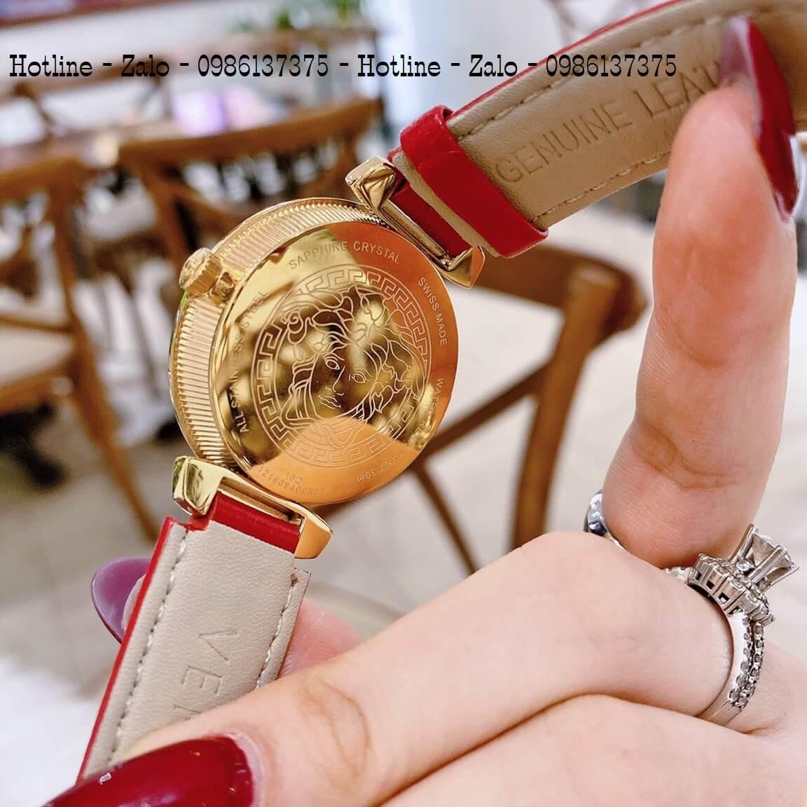 Đồng Hồ Nữ Versace Daphnis Dây Da Đỏ Gold 35mm